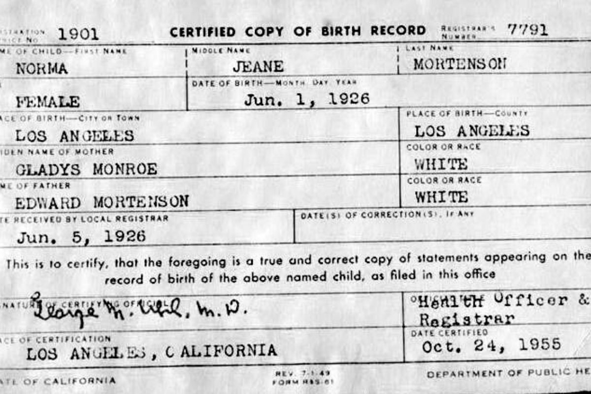 certificato di nascita marilyn monroe